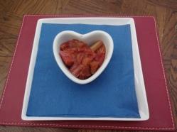 First, add the stewed rhubarb
